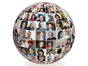 A globe of faces