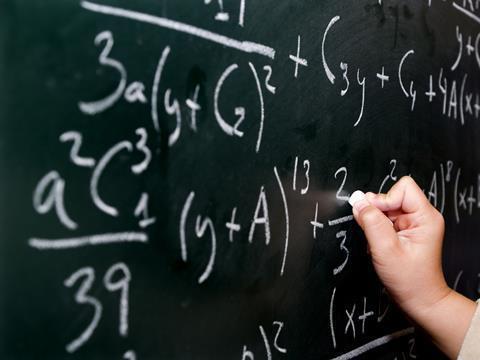 Math equations on a blackboard