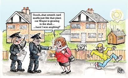 A cartoon showing police hunting a weed-smelling scratch card owner
