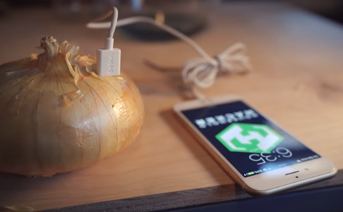 Onion battery charging an iphone