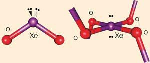Isolated xenon dioxide molecule XeO2 (left) Xenon dioxide XeO2 in the solid state (right)