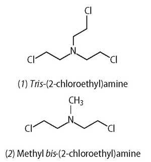 tris- and methyl bis-(2-chloroethyl)amine structures