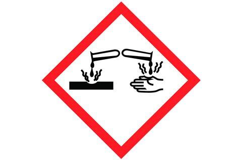 The GHS symbol for a corrosive substancce