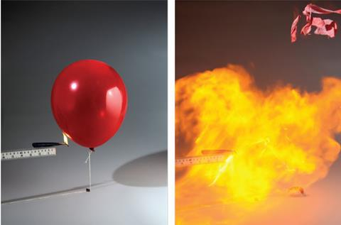 An exploding balloon