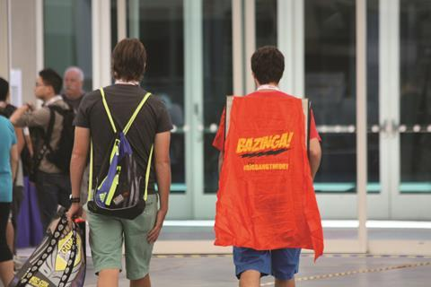 Person wearing a 'Bazinga!' cape, from The Big Bang Theory TV series