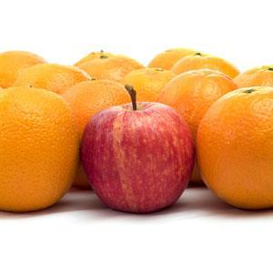 An apple among oranges (Quantity calculus - remember that apples can't be added to oranges)