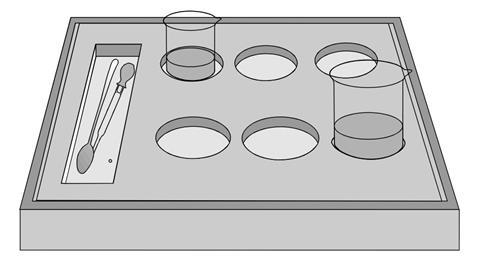 Equipment tray for visual impairment