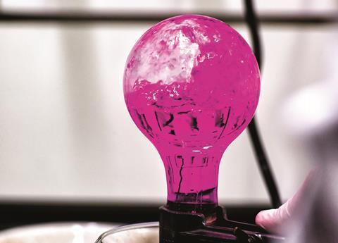 Pink light bulb