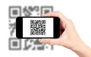 A smartphone reading a QR code