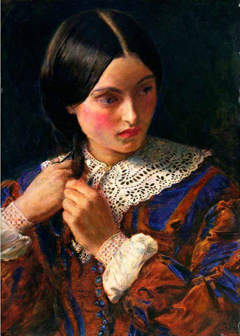 The portrait 'Only a Lock of Hair' by John Everett Millais