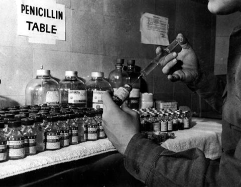 An old image showing penicillin vials