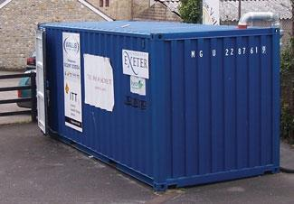 The container in situ, just behind the staff car park