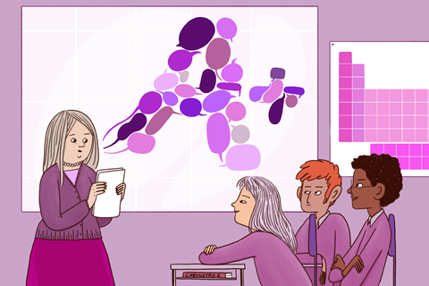 A graphic image showing a female teacher providing feedback to three students; speech bubbles representing comments can be seen hovering above her, and they are forming the letter A+