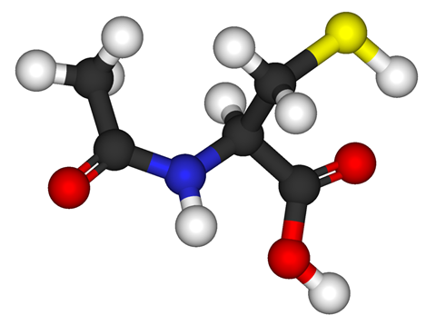 Ball-and-stick model of acetylcysteine (N-acetyl-L-cysteine, NAC)