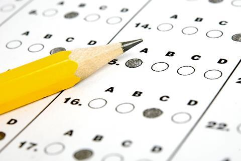 Pencil and multiple choice test answer paper