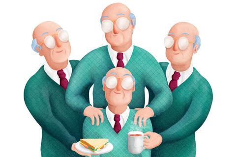 A cartooon man being looked after by three identical versions of himself