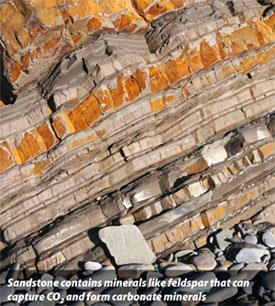 Sandstone - Sandstone contains minerals like fieldspar that can capture CO2 and form carbonate materials