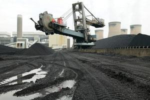 A machine moving coal supplies for a power station