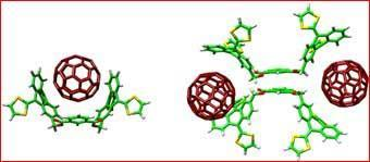 The first exTT-based receptor for fullerene, shown in its two possible binding modes