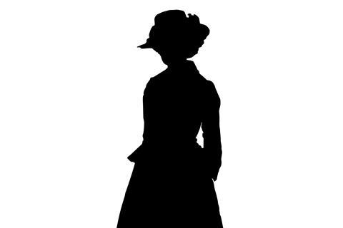 Silhouette of woman in 18th century dress