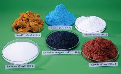 Each dish contains a mole of ionic compound: Sodium chloride, Iron (III) chloride, Copper sulphate, Potassium mangamate, Pottasium iodine, Cobalt nitrate