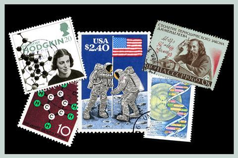 An image showing stamps corresponding to great scientific leaps