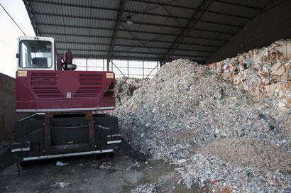 A large pile of wood and paper pulp