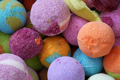 A picture of bath bombs in bright colours