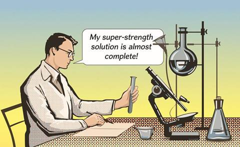 A cartoon scientist working on a super-strength solution