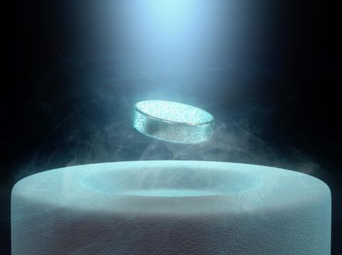 A magnet levitating above a high-temperature superconductor, cooled with liquid nitrogen