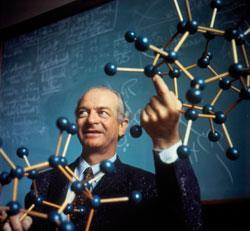 Linus Pauling demonstrating his early research focused on the nature of the chemical bond