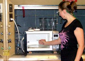 Using a microwave with protective eye wear