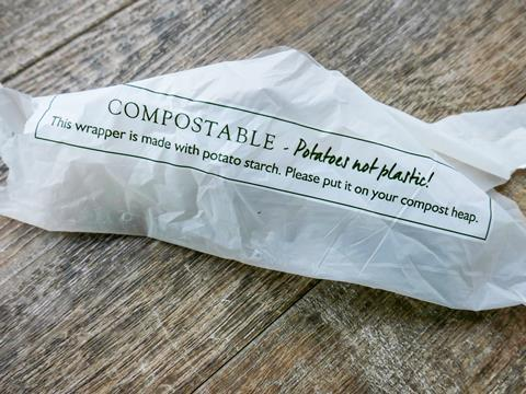 An image showing a potato starch compostable wrapper