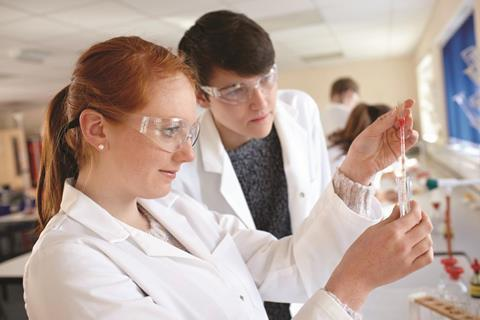 Students working in a chemistry lab