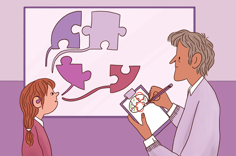 A graphic image showing a male teacher holding a clipboard and assessing the knowledge of a female pupil, using a jigsaw analogy