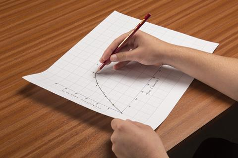A picture of a wood grain desk, with two hands, one holding a piece of graph paper, the other drawing a curve onto the plotted graph