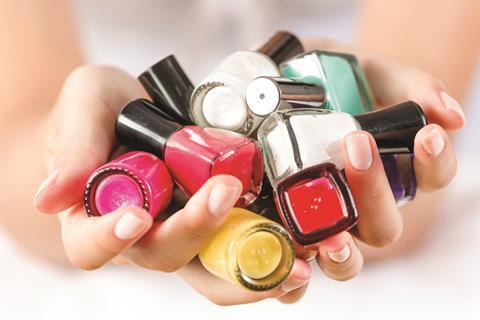 A selection of coloured nail polish