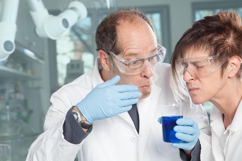 Scientists smell blue liquid