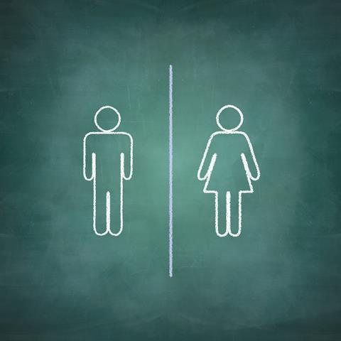 Male and female stick figures on a chalk board