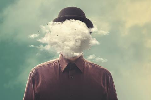 Man's head replaced by cloud
