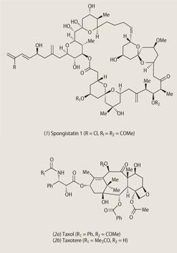 (1) spongistatins (2a)taxol (2b)taxotere