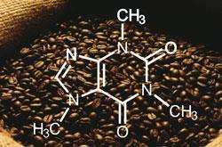 Coffee with structure of caffeine shown