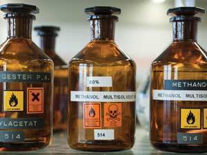 Methanol reagent bottles