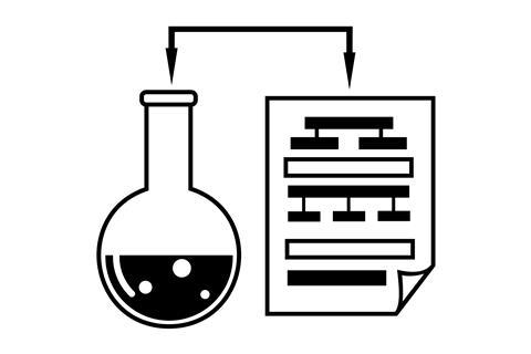 Diagram of a flask next to an evaluation sheet