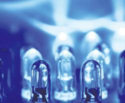 Gallium nitride LEDs emit blue light