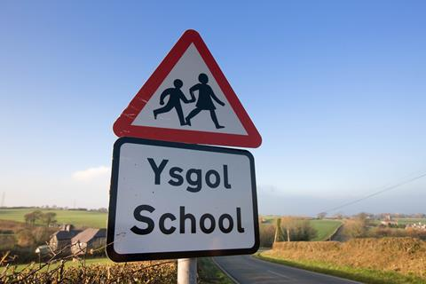 School warning sign in welsh (Ysgol)