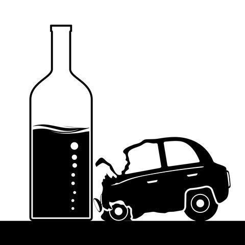 Car hitting a wine bottle