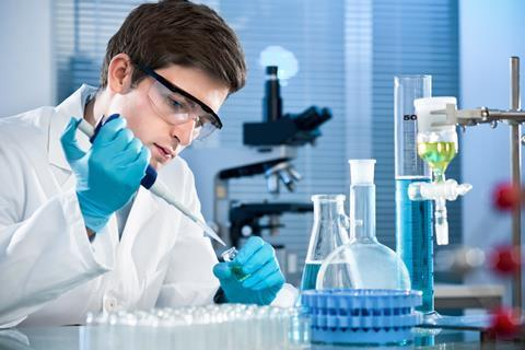 Student scientist working at the laboratory