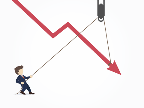 Cartoon man reversing a downward arrow trend using a pulley system