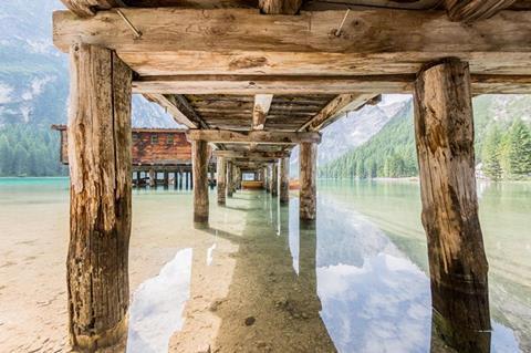 Wooden legs of a pier